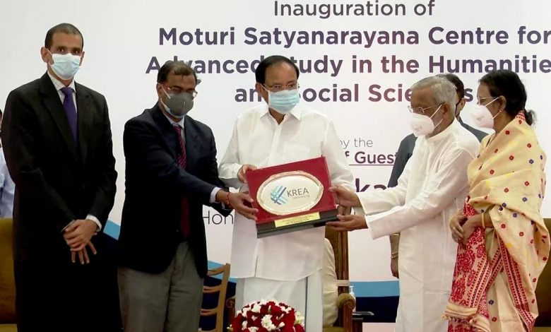 Honourable Vice President of India inaugurates Moturi Satyanarayana Centre for Advanced Study in the Humanities and Social Sciences at Krea University